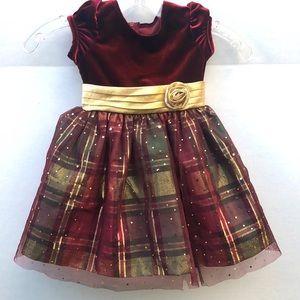 Bonnie Jean Size 2T Plaid Christmas Tulle Dress